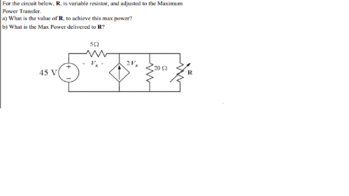 For the circuit below. R. is variable resistor, an