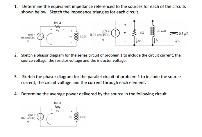 Determine the equivalent impedance referenced to t