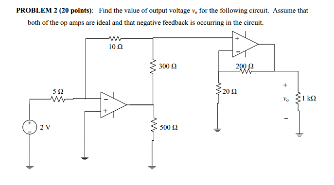 Find the value of output voltage va for the follow