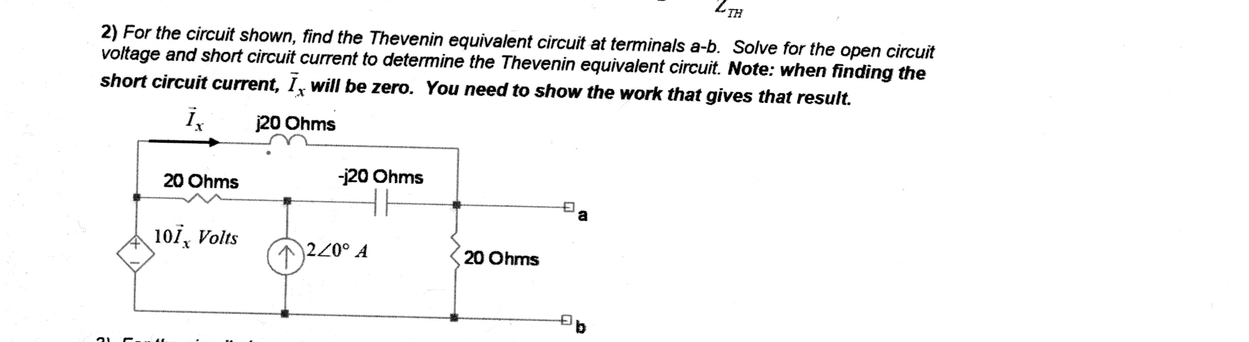 For the circuit shown, find the Thevenin equivalen