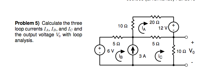 Calculate the three loop currents IA, IB, and IC a