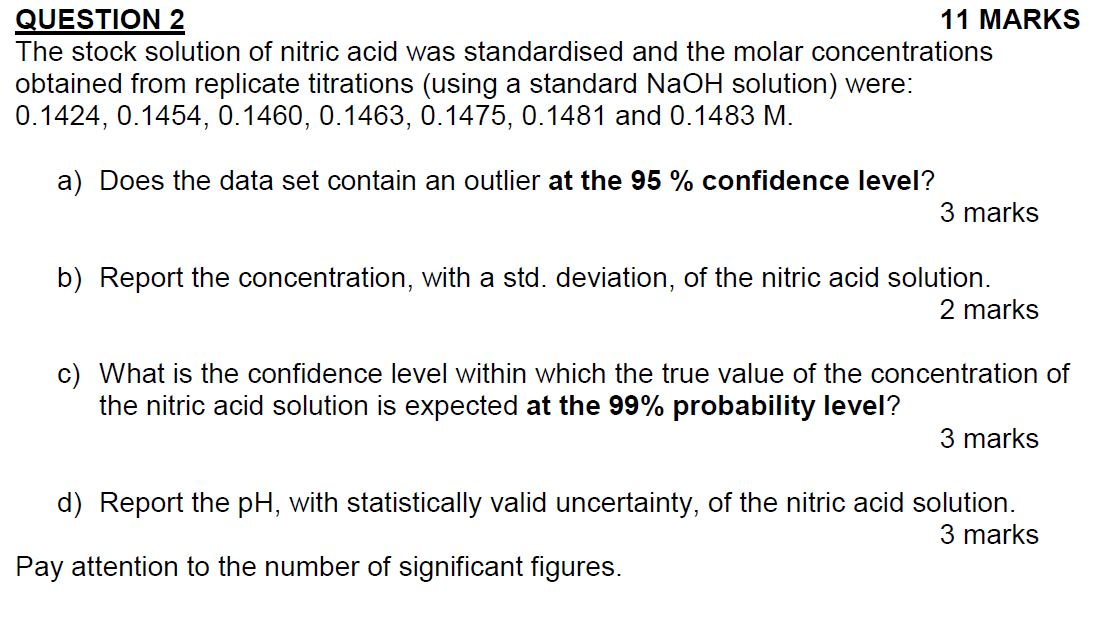 The stock solution of nitric acid was standardised