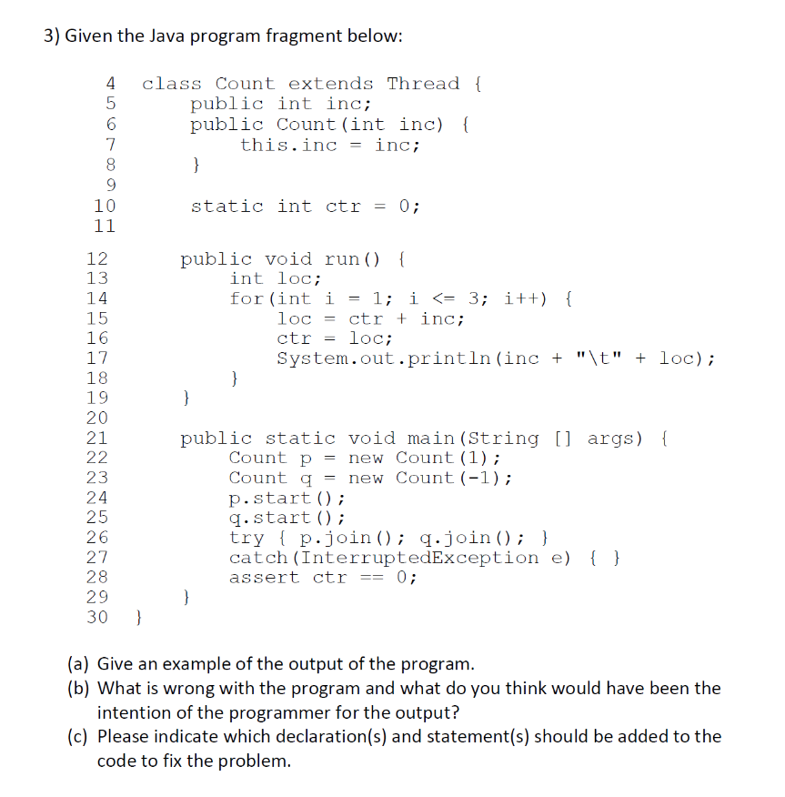 Solved: Given The Java Program Fragment Below: 4 Class Cou ...