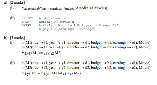 a) [2 marks] (i) πstagename(opay > earnings-budget (ActedIn Movie)) (ii) SELECT A.stagename FROM WHERE ActedIn A, Movie M A.title=M.t A.pay > M·earnings -M·budget itle AND A. year = M. year AND b) [3 marks] (i) ρ (MI (title → tl, year → yl, director → dl, budget → bl, earnings → el), Movie) pCM2(title → 12, year → y2, director → d2, budget → b2, earnings → e2), Movie) (ii) ρ (MI (title → tl, year → yl, director → dl, budget → bl, earnings → el), Movie) pCM2(title → t2, year → y2, director → d2, budget-> b2, earnings → e2), Movie)