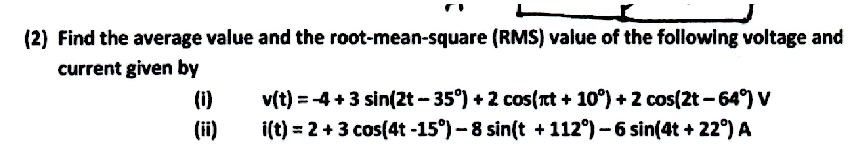Find the average value and the root-mean-square (R