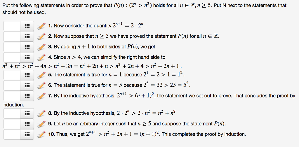 Put the following statements in order to prove that P(n) (2 n