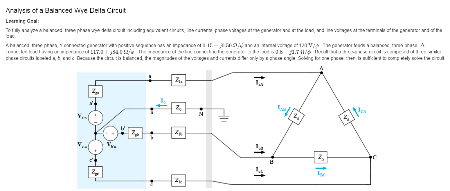 Solved: Analysis Of A Balanced Wye-Delta Circuit Learning ...