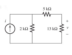 Find v in the circuit given in the figure, if i= 1