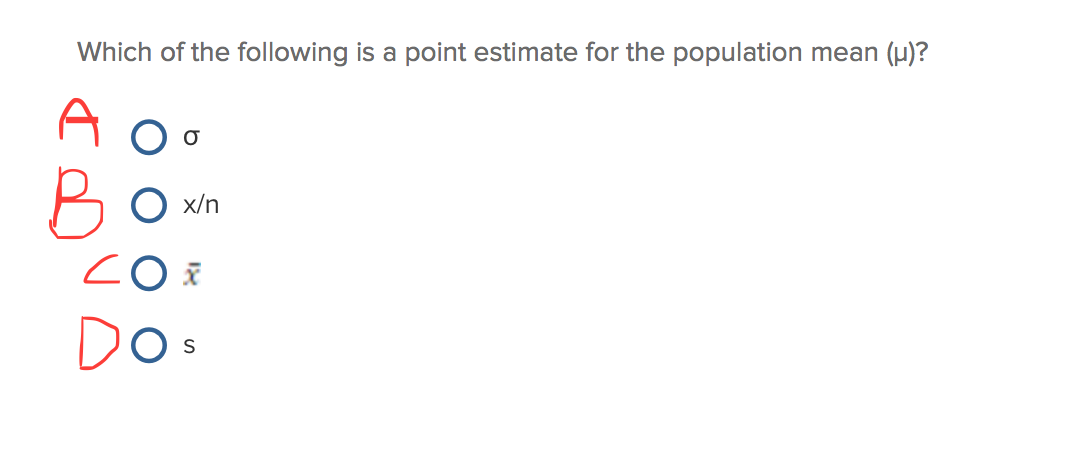 how to find point estimate of population mean