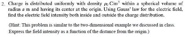 Charge is distributed uniformly with density rho0