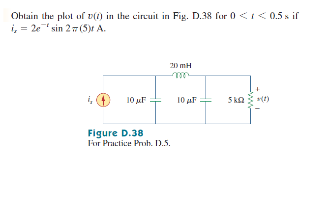 Obtain the plot of v(t) in the circuit in Fig. D.3
