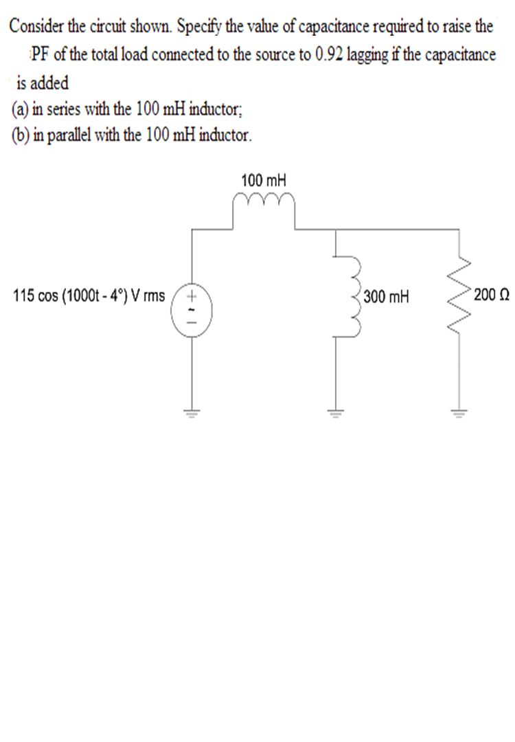 Consider the circuit shown. Specify the value of c