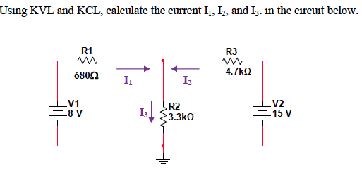 Using KVL and KCL. calculate the current I1, I2, a