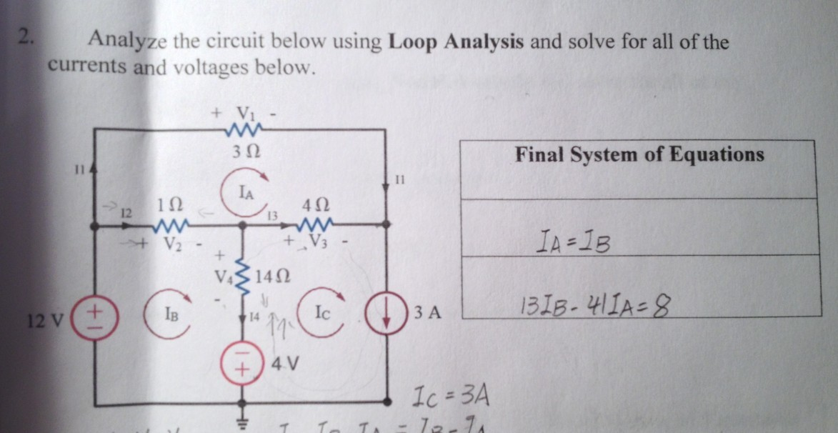Analyze the circuit below using Loop Analysis and