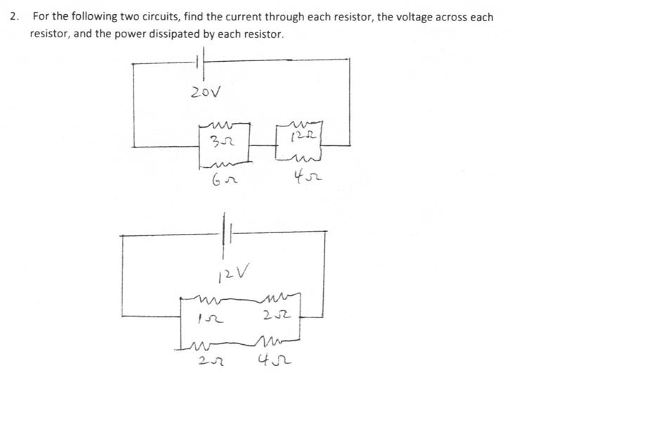 For the following two circuits, find the current t