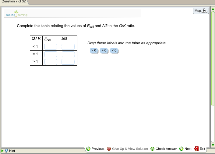 Complete this table relating the values of ecell a for Delta s table chemistry
