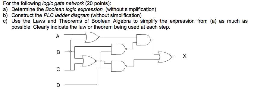 For the following logic gate network: Determine th