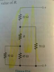 The equivalent resistance between the terminals a