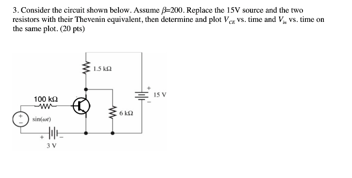 Consider the circuit shown below. Assume beta = 20