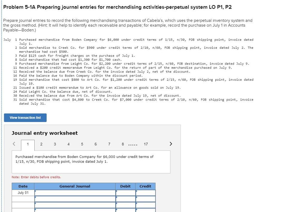 Problem 5-1A Preparing Journal Entries For Merchan... | Chegg.com