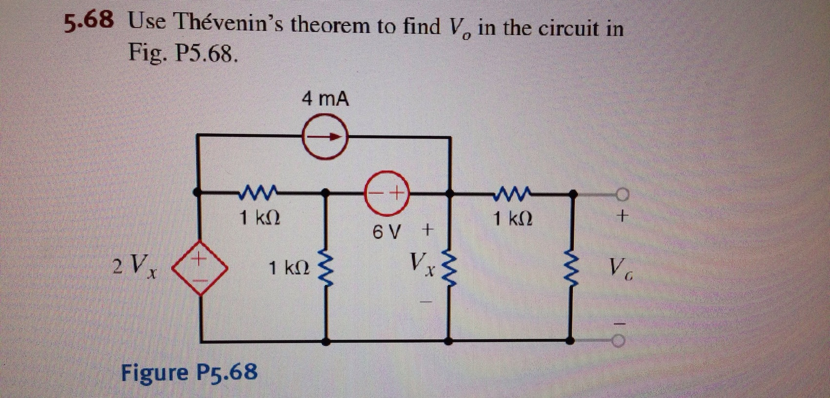 Use Thevenin's theorem to find V0 in the circuit i
