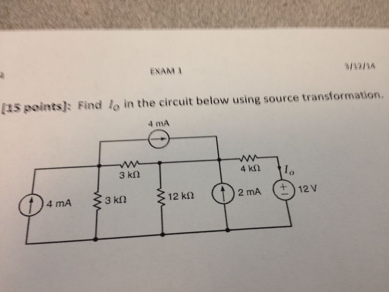 Find Io in the circuit below using source transfor