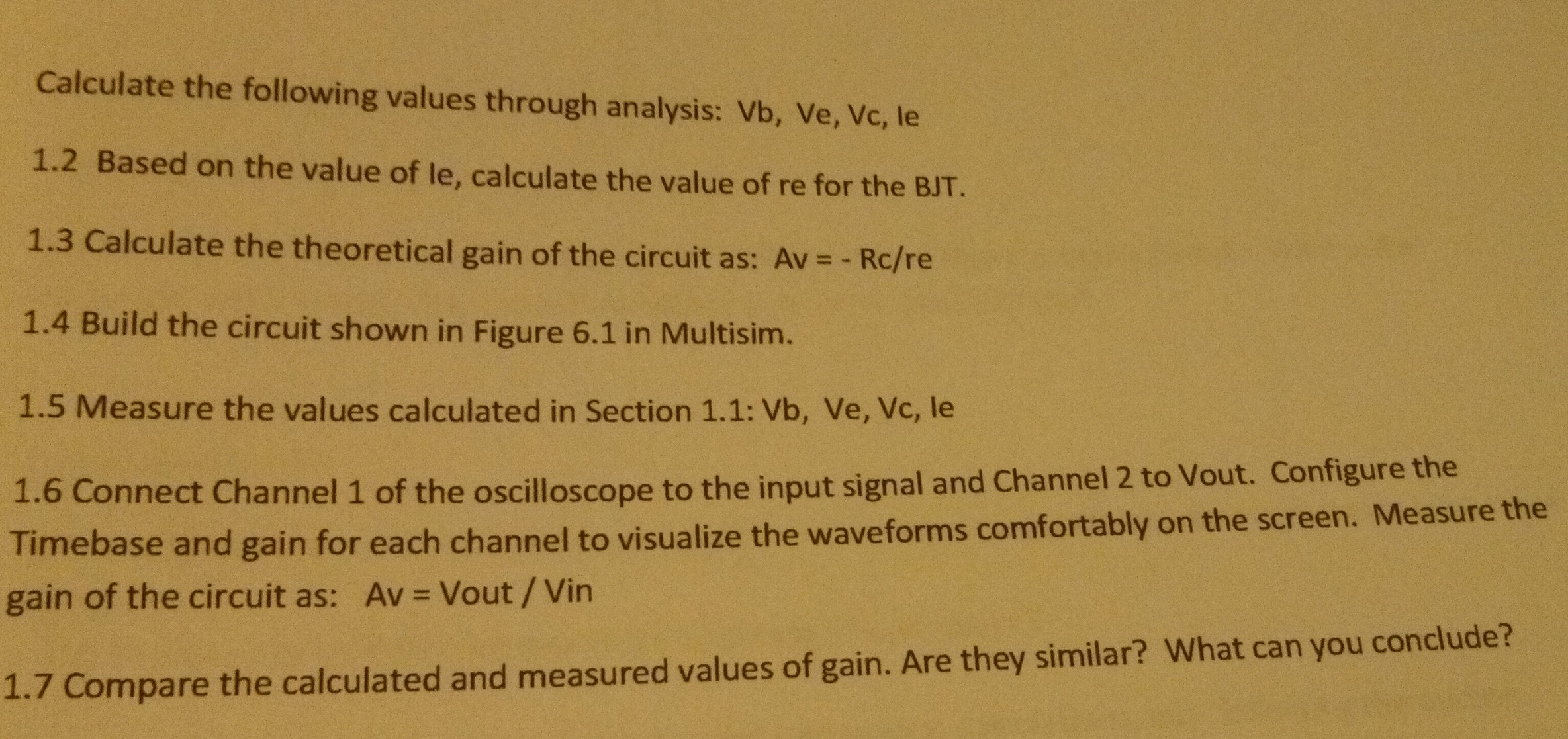 Calculate the following values through analysis: