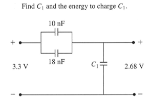 Find C1 and the energy to charge C1.