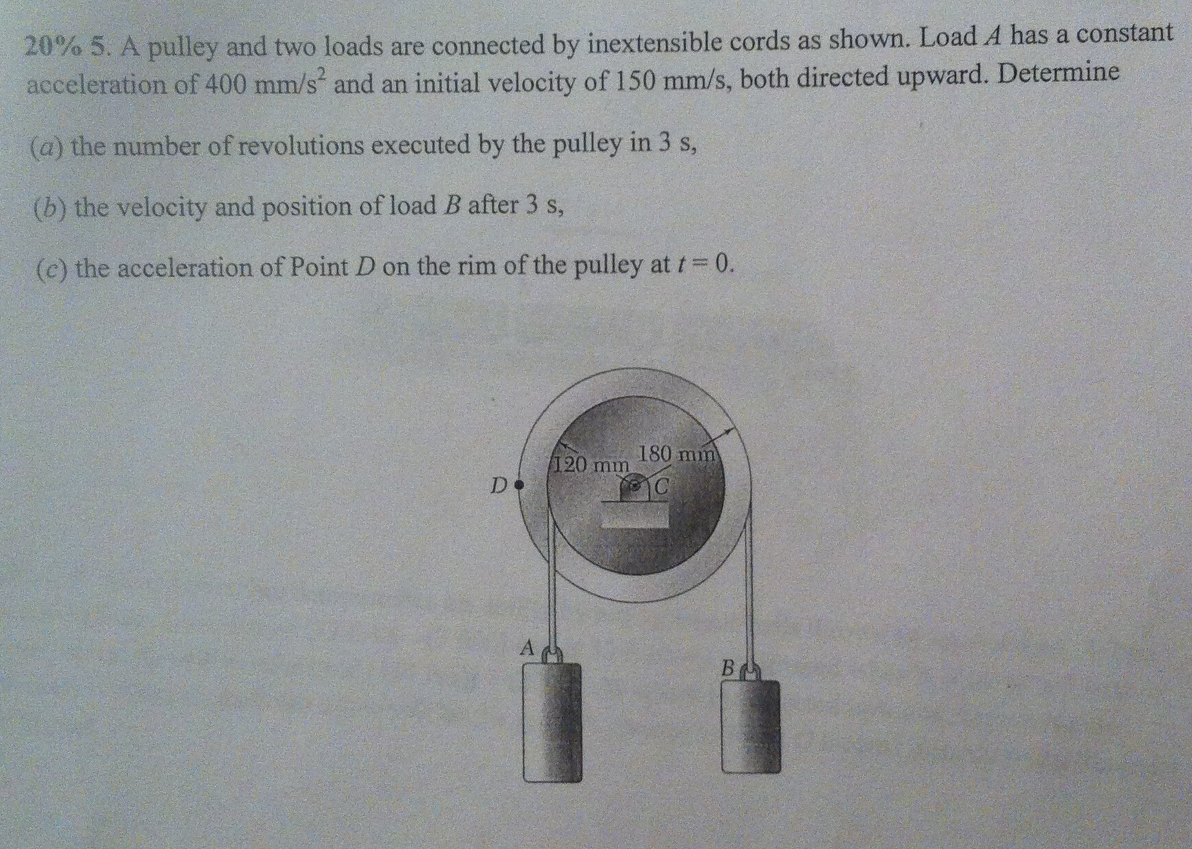 20% 5. A pulley and two loads are connected by ine