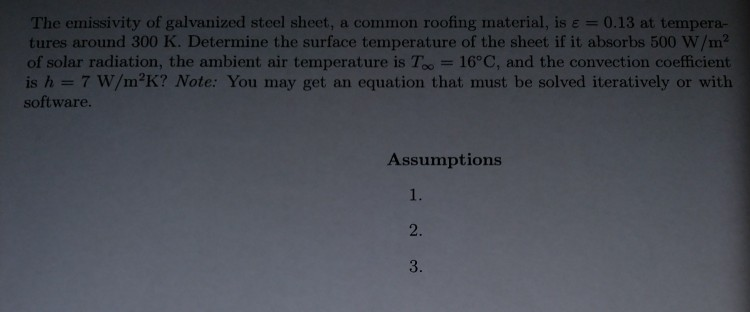 the emissivity of galvanized steel sheet a common roofing material is u003d 013
