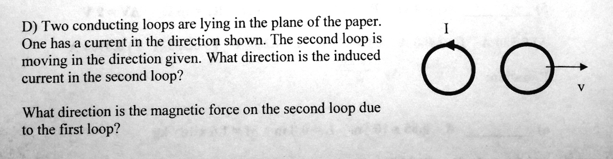 Two conducting loops are lying in the plane of the