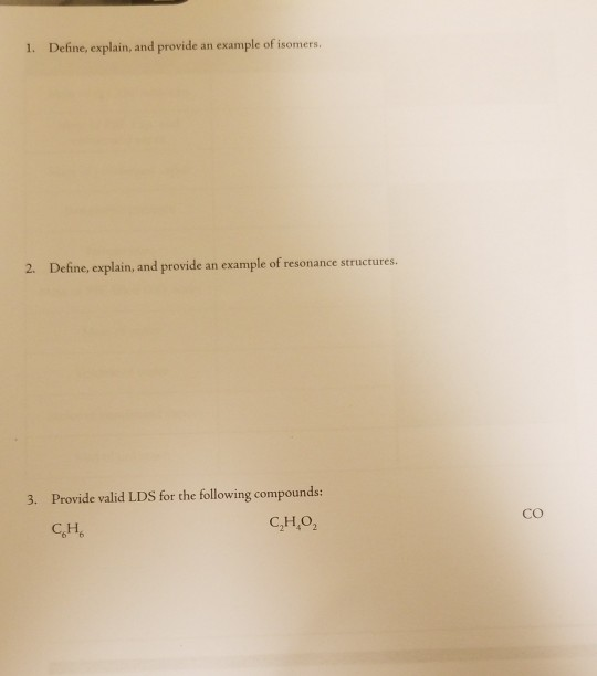 Solved: 1. Define, Explain, And Provide An Example Of Isom ...