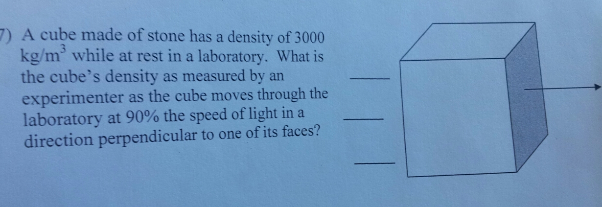 A cube made of stone has a density of 3000 kg/m3 w