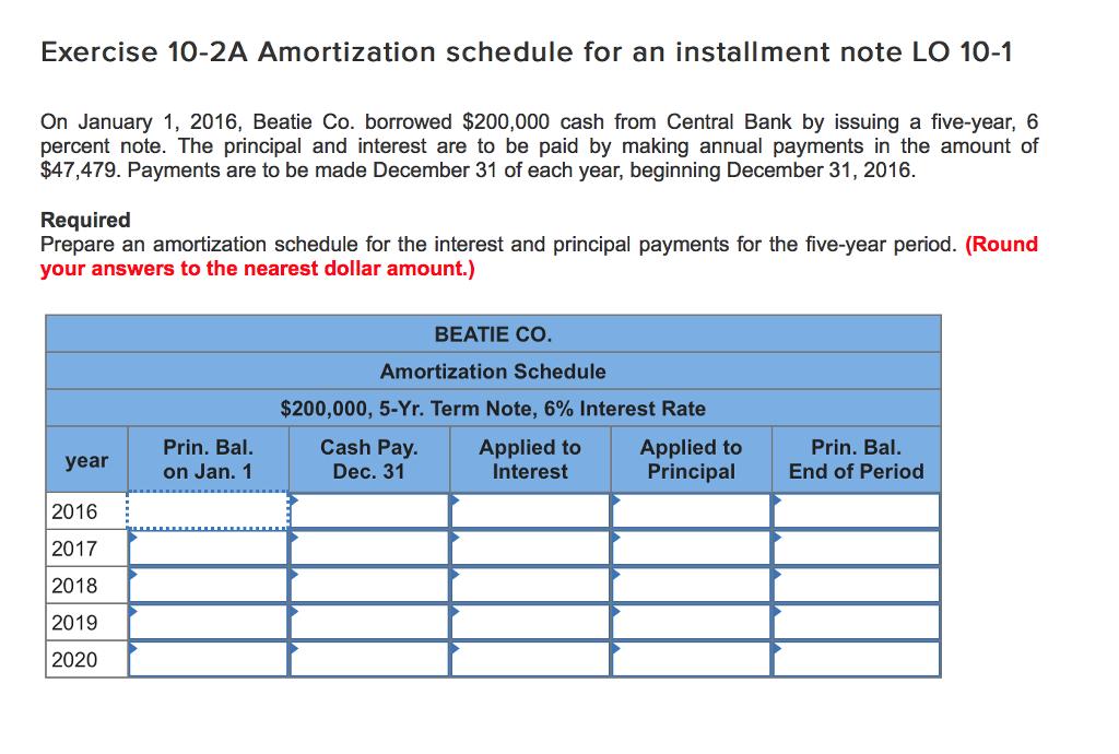 note amortization schedule