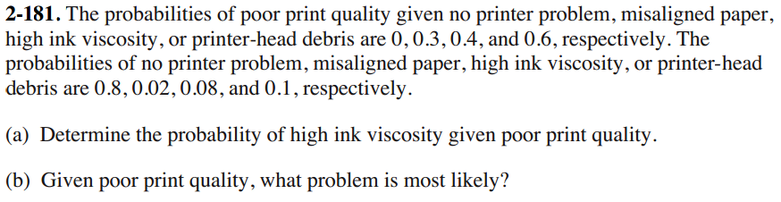 The probabilities of poor print quality given no p