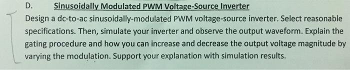 Design a dc-to-ac sinusoidally-modulated PWM volta