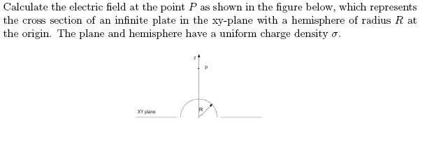 Calculate the electric field at the point P as sho
