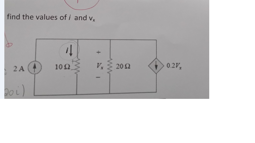 find the values of i and vx