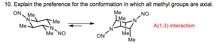 Explain the preference for the conformation in whi