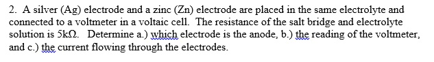 A silver (Ag) electrode and a zinc (Zn) electrode