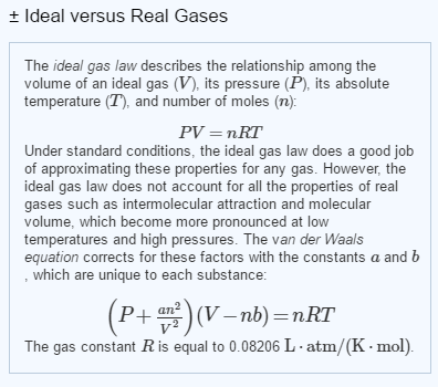 ideal gases vs real gases