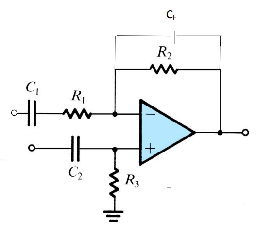 Design the values of the capacitors and resistors