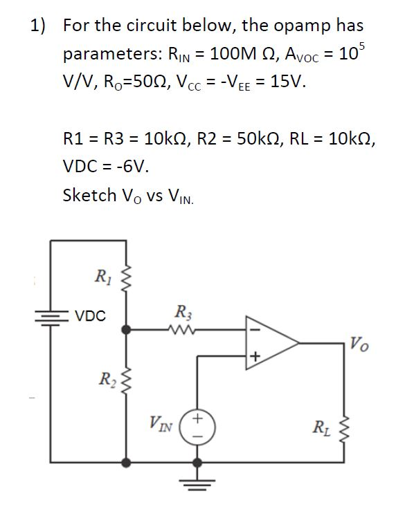 For the circuit below, the opamp has parameters: R