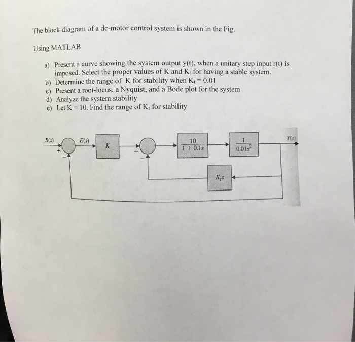 solved  the block diagram of a dc