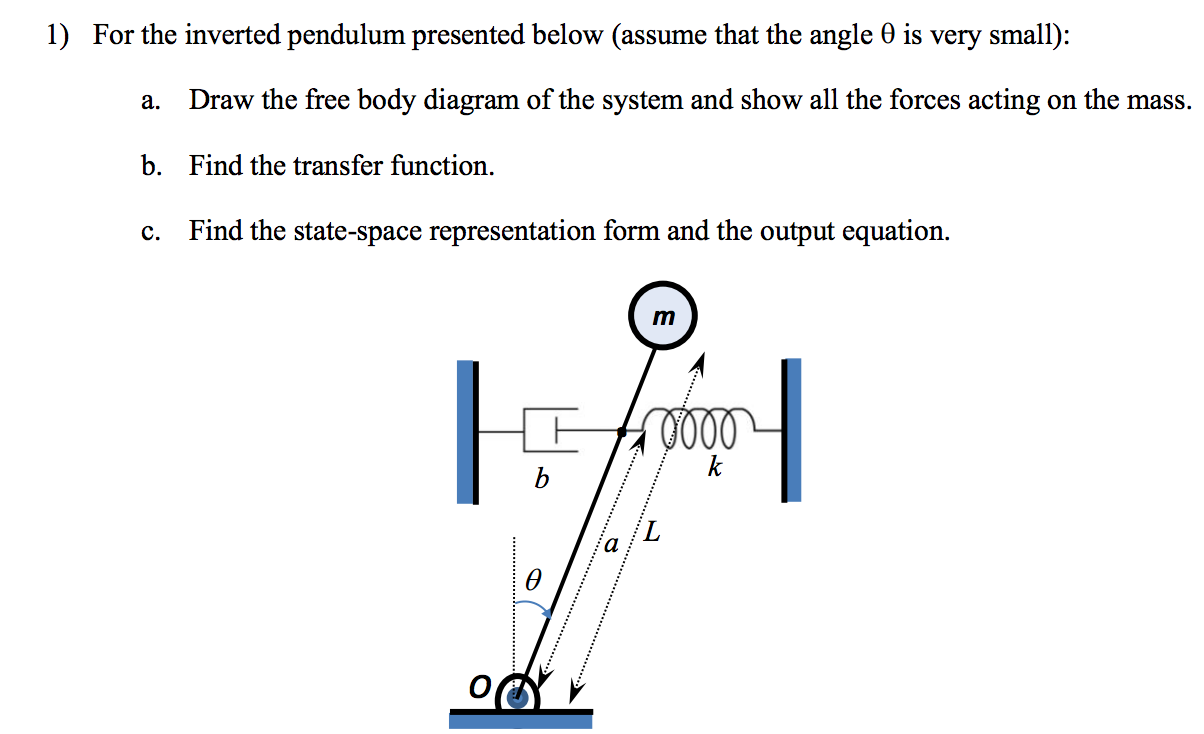 For the inverted pendulum presented below (assume