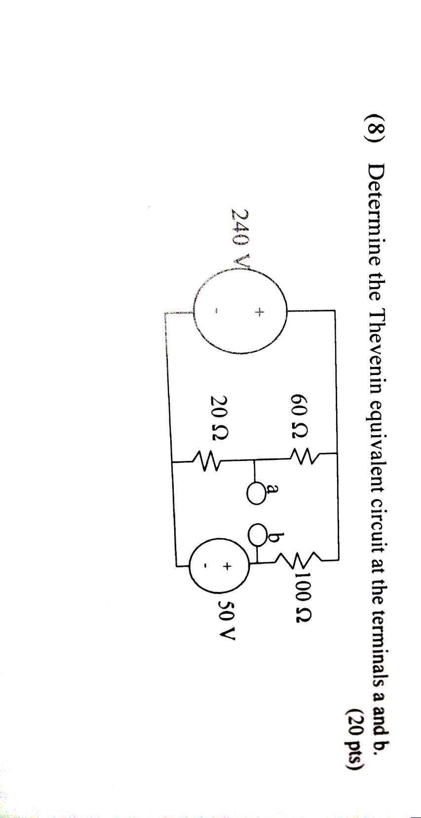Determine the Thevenin equivalent circuit at the t
