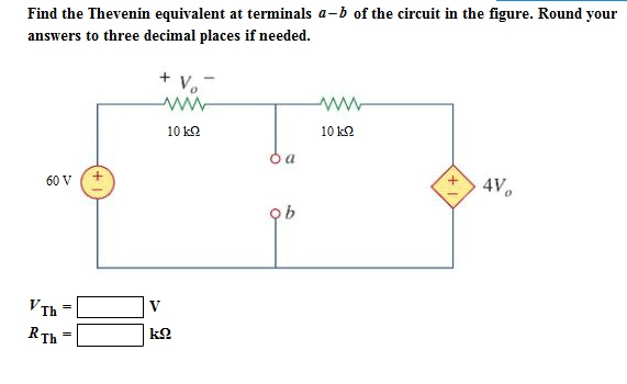 Find the Thevenin equivalent at terminals a - b of