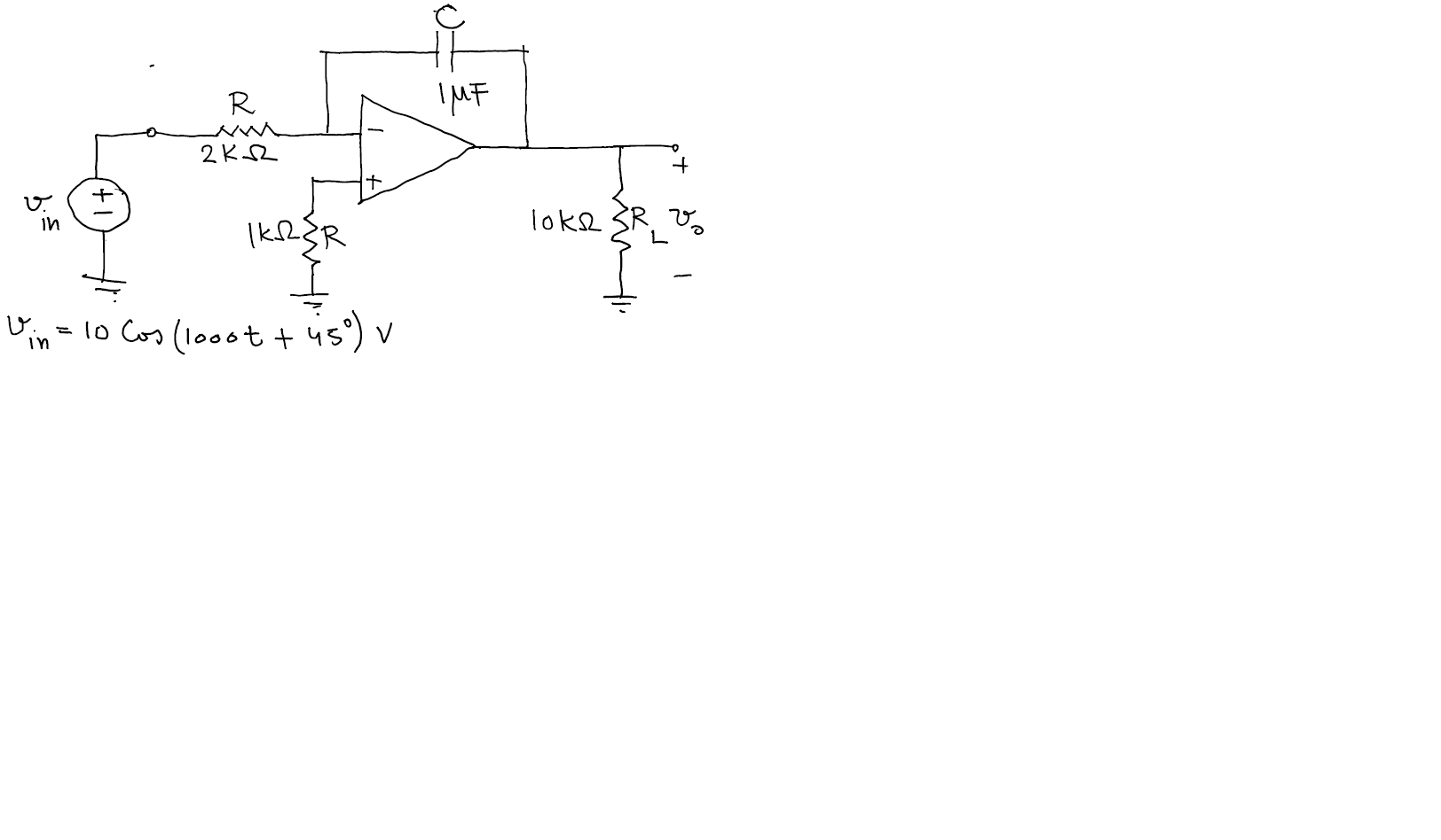Determine steady state vo(t). The op amp is ideal.