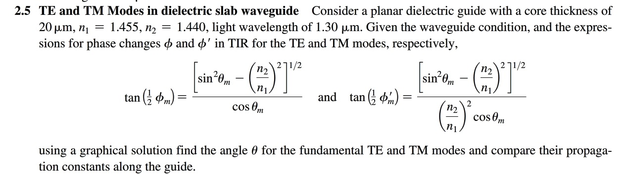 Consider a planar dielectric guide with a core thi