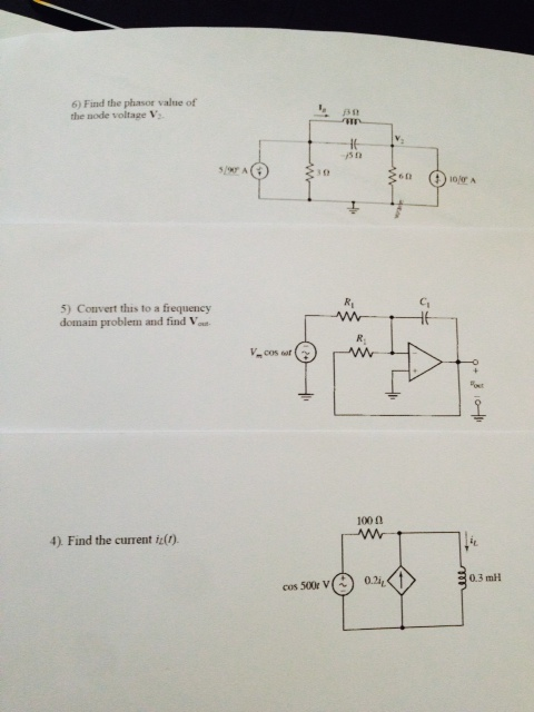 Find the phasor value of the node voltage V2. Con